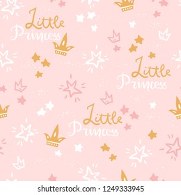 Vector doodle seamless pattern with stars, crowns, lettering little Princess. Pink color illustration. Scandinavian style.