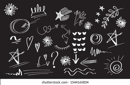 Vector doodle set of design element. curly swishes, swoosh, swoops, swirl, arrow, heart, love, crown, flower, star, firework, highlight text and emphasis element. use for concept design