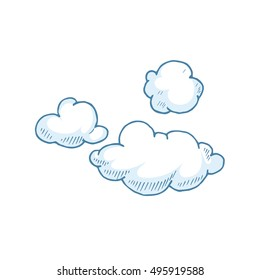 vector Doodle set of Hand Drawn Clouds. Illustrations of cloudy weather isolate on white background.
