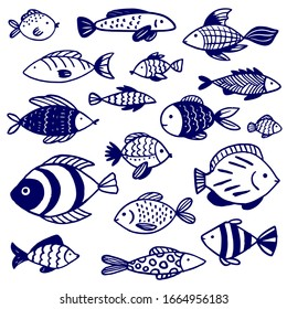 Vector doodle set of marine fish of different shapes with various hand-drawn patterns, isolated on white background. Illustration for design on the theme of marine animals, sea, travel.