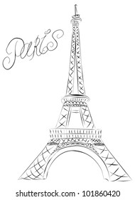 Vector doodle sketch of the Paris Eiffel Tower.