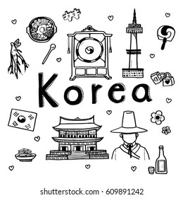 Vector doodle sketch travel and tourist attraction background for South Korea. Doodle art world travel collection design.