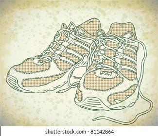 vector doodle sneakers
