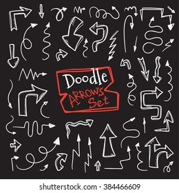 Vector doodle style arrow set. Hand drawn collection of sketch arrows