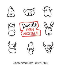 Vector doodle style farm animals icons set. Cute hand drawn collection of animal heads
