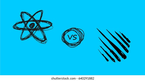 Vector doodle style React js verses Meteor js symbols on blue background
