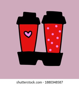 vector doodle - takeaway coffee sticker. Romantic cocoa glasses with hearts. Freehand style. Valentine card