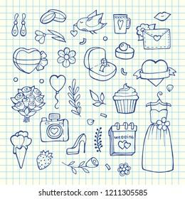 Vector doodle wedding elements set on blue cell sheet background illustration