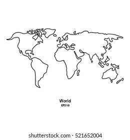 Vector Doodle white world map isolated background