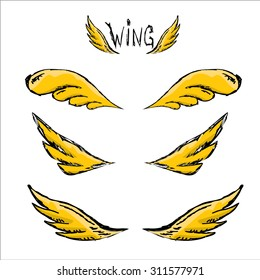 vector doodle wings set isolated on white. angel wings collection