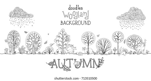 Vector doodles autumn woodland background. Outlined trees, cute wild animals and birds between trees. Curled clouds and rain. Falling leaves. Hare, fox, squirrel, deer, raccoon, owl, hedgehog.