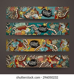 Vector doodles cinema movie design banner templates set