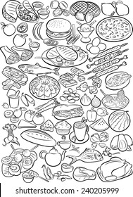 Vector doodles of food collection in line art mode