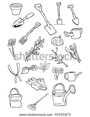 Vector Doodles Garden Tools Gardening Things Stock Vector Royalty