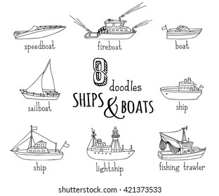 Vector doodles nautical vessel icons set. Lightship, fireboat, fishing trawler, speedboat, sailboat and motorboat. Black ship and boat contours isolated on white background.