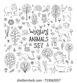 Vector doodles woodland animals set. Hand-drawn collection for children colouring books, invitations, cards and posters. Deer, fox, hedgehog, owl, hare, raccoon, snail, squirrel, bee, mushroom, tree.