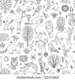 Vector doodles woodland seamless pattern. Autumn trees, mushrooms and leaves. Wild animals, birds and insects. Fox, wolf, deer, moose, bear, hare, squirrel, racoon, hedgehog, owl, bee, beaver.