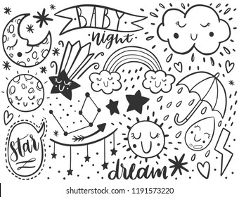 Vector dooodle sketch kids set. Hand dreawn style. Baby wreath cloud,moon,sun,rainbow,cloud. Babyshower illustration