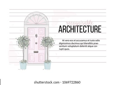 Vector door front house illustration. Home with plants  interior card. Apartment entrance in pastel pink colors. Modern exterior concept