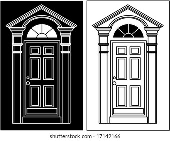 vector door icon company logo (black and white versions)