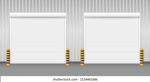 Vector Door with Rolling Shutters on white background. Vector illustration.