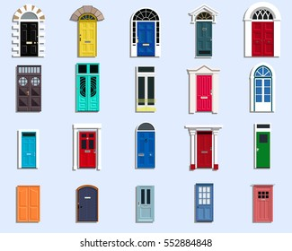 Vector Doors Set Ancient, VIntage, Modern Doors Flat Design