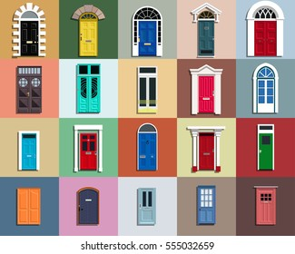 Vector Doors Set. Different styles and epochs