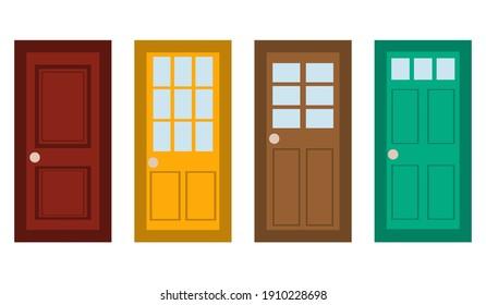 Vector doors set in flat style