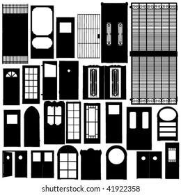 vector doors silhouette set