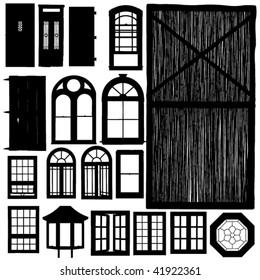 vector doors and windows silhouette set