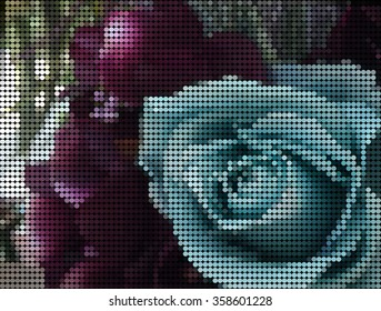 vector dot , abstract background of blue rose