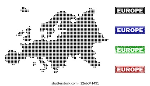 Vector dot abstract Europe map and isolated clean black, grunge red, blue, green stamp seals. Europe map caption inside rough framed rectangles and with grunge rubber texture.