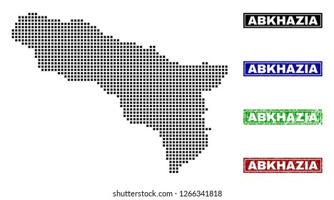 Vector dot abstracted Abkhazia map and isolated clean black, grunge red, blue, green stamp seals. Abkhazia map caption inside rough framed rectangles and with grunge rubber texture.