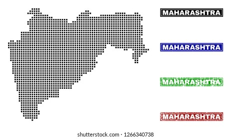Vector dot abstracted Maharashtra State map and isolated clean black, grunge red, blue, green stamp seals. Maharashtra State map tag inside rough framed rectangles and with unclean rubber texture.