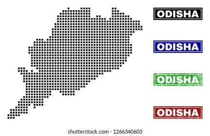Vector dot abstracted Odisha State map and isolated clean black, grunge red, blue, green stamp seals. Odisha State map tag inside rough framed rectangles and with grunge rubber texture.