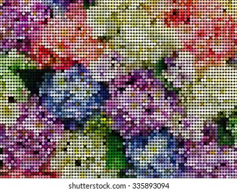 vector dot , colorful flowers abstract background
