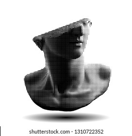 Vector dot halftone fragment of colossal head sculpture of classical style isolated on white background.