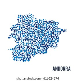 Vector dotted colorful map of Andorra isolated on a white background
