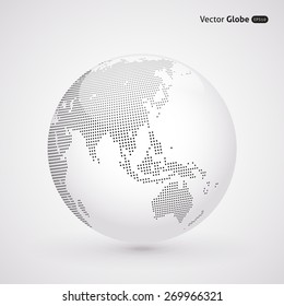 Vector dotted light globe, views over East Asia