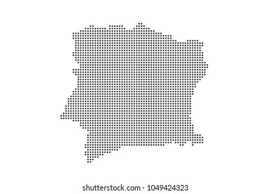 Vector dotted map of Cote D'ivoire on white background