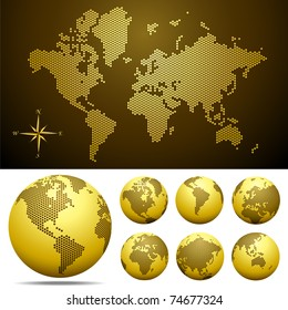 Vector dotted Map and Globe of the World - Gold.  Easy change colors. Eps8