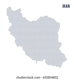 Vector dotted map of Iran isolated on white background .