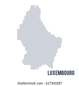 Vector dotted map of Luxembourg isolated on white background .
