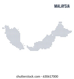 Vector dotted map of Malaysia isolated on white background . Travel vector illustration