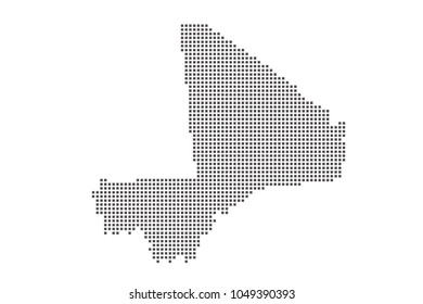 Vector dotted map of Mali on white background