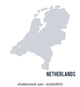 Vector dotted map of Netherlands isolated on white background .