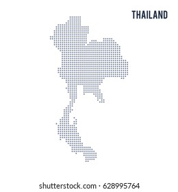 Vector dotted map of Thailand isolated on white background . Travel vector illustration