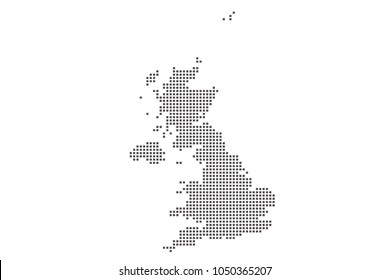 Vector dotted map of United Kingdom on white background