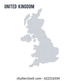 Vector dotted map of United Kingdom isolated on white background .