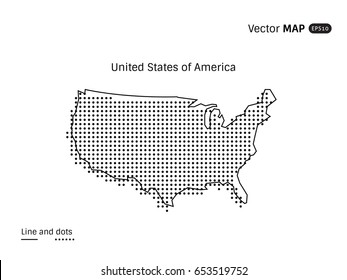 Vector Dotted United States of America Map isolated on white background